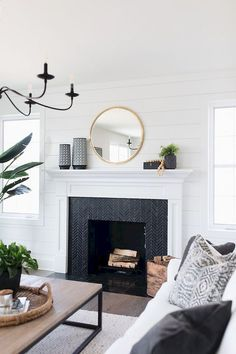 Most up-to-date Pictures black Fireplace Mantels Ideas 40 Best Modern Farmhouse Fireplace Mantel Decor Ideas Farmhouse Fireplace Mantels, Fireplace Remodel, Modern Fireplace Decor, Tiled Fireplace, White Mantle Fireplace, Marble Fireplaces, Renovate Fireplace, Painted Fireplace Mantels, Modern Mantle