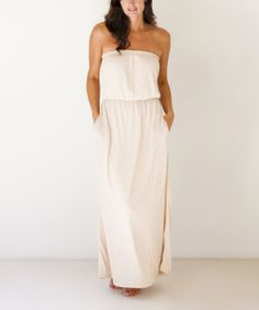 Gold Strapless Blouson Maxi Dress//