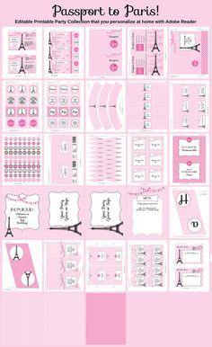 Paris Party Invitation Printable Collection by SIMONEmadeit, $14.95