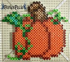 Mini pumpkin perler beads by PerlerPixie Perler Bead Designs, Diy Perler Beads, Perler Bead Art, Pearler Beads, Melty Bead Patterns, Pearler Bead Patterns, Perler Patterns, Beading Patterns, Halloween Beads