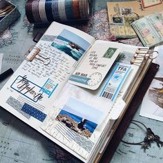 Playing with shades of blue and layers atop layers for this spread. I visited Ti. Playing with shades of blue and layers atop layers for this spread. I visited Timang Beach during my trip to Yogyakarta, you can see the photos if you. Travel Journal Scrapbook, Vacation Scrapbook, Travel Journals, Travel Books, Friend Scrapbook, Travel Album, Planner Bullet Journal, Bullet Journal Inspiration, Bullet Journal Vacation