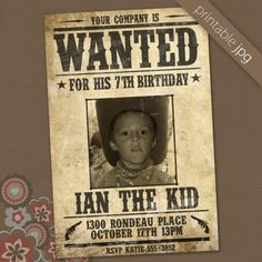 Printable wanted poster birthday invitation  by sueniosencantados, $10.00