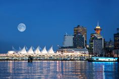 Vancouver British Columbia's Beautiful Waterfront and Skyline as the Moon Rises!