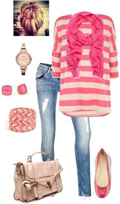 Adorable pink outfit! Would prolly pair this with boots instead of flats.