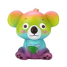 Rainbow Color Cute Cartoon Kawaii Koala Squishy Slow Rising Squeeze Toy Cute Animal Relieve Stress Toys For Kids Animal Squishies, Cute Squishies, Jumbo Squishies, Le Slime, Balle Anti Stress, Gadgets, Stress Relief Toys, Stress Toys, Unicorn Cat
