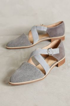 KMB Cross-Strap Denim Flats