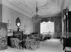Princess Elizabeth's sitting room on the first floor of Clarence House in London, 1949. The house was built in 1825-27 by John Nash for the Duke of Clarence, later King William IV. There are Chippendale and Sheraton pieces amongst the furniture and the ceiling is a Nash original.