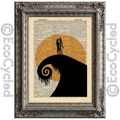 Nightmare Before Christmas 1 on Vintage Upcycled Dictionary Page Book Art Print Jack Sally Silhouette on Etsy, $10.00