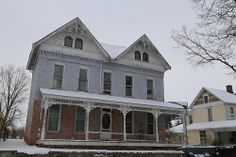 Painted brick house in Carthage Indiana, Rush County IN