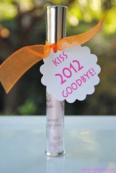 Kiss 2012 Good Bye!... Cute NYE lip gloss party favors.