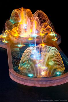 Fountains - underwater lights can really change the feel of a fountain. The Village At Gulfstream Park, a race track, casino, shopping mall and entertainment destination in Hallandale, Florida - USA Garden Fountains, Water Fountains, Outdoor Fountains, Garden Ponds, Koi Ponds, Fountain Lights, Fountain Design, Underwater Lights, Fountain Of Youth