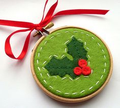 Mini Embroidery Hoop Christmas Ornament ღ Cute!                                                                                                                                                                                 More