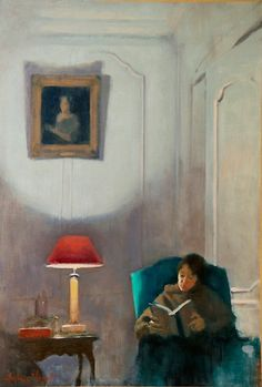 Woman Reading - Antoine Vincent  French, b.1956-  oil on paper,