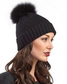358a8bb0df40b Nova Black Braided Cable Knit Beanie Hat with Finn Raccoon Pom P Women Hats