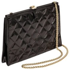 06418e935bfb 1970 s Chanel Black Quilted Patent Leather Convertible Evening Bag w Chain  Strap