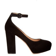 Gianvito Rossi Sherry block-heel suede pumps ($621) ❤ liked on Polyvore featuring shoes, pumps, black, platform pumps, mary jane shoes, black mary janes, black block heel pumps and black platform shoes