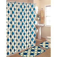 15 Piece Shower Curtain Set Color: Navy Blue ($25) ❤ liked on Polyvore featuring home, bed & bath and bath