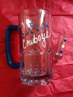 Hand painted Dallas Cowboys beer mug and shot glass.