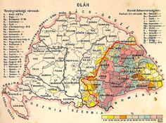 The territories population by Romanians in Lands of the Crown of Saint Stephen according to the 1890 census and the new Romanian border established at the Treaty of Trianon Budapest, Saint Stephen, Old Maps, Historical Maps, Albania, Vintage World Maps, Draw, German, Language