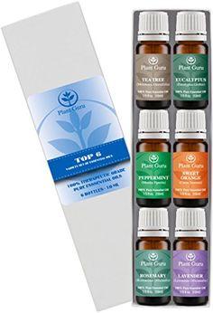 Plant Guru Top 6 Essential Oil Set Contains 10 ml Each of: Eucalyptus Lavender Sweet Orange peppermint Rosemary and Tea Tree....