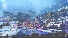 General 1920x1080 artwork digital art city futuristic cyberpunk snow lights…