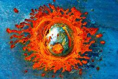 Abstract Fine Art Photography Industrial Rust Orange Blue Silver, Solar Flare 8x12. $25.00, via Etsy.