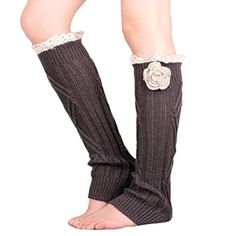 Pretty Soft Multi Color Options knit Knee High Boot Leg warmers with handmade flower accessory Lace trim (dark gray) for only $4.95! That's 50% off the regular price.