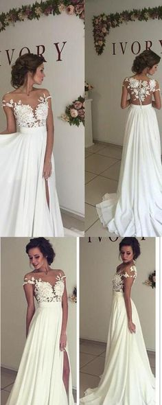 Chiffon Wedding Dresses,Lace Wedding Gowns,Charming Wedding Dress,Short Sleeve Wedding Dress, White Wedding Gown,2017 Elegant Wedding Dresses,Wedding Dresses