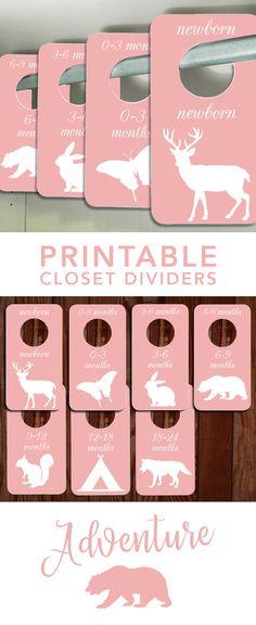 Adventure themed Closet Dividers to keep your nursery organized! #Nursery #ClosetDividers #nurseryprintables #NurseryDecor #babyclosetdividers #babyorganizers #AdventureNursery