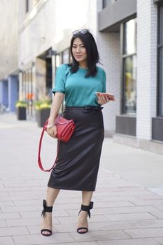 What to wear to an opera Lanvin green top   Rita and Phill Custom-Fit Skirts   Red LV bag   black Bethany Johnson bow sandal heels   Rayban sunglasses