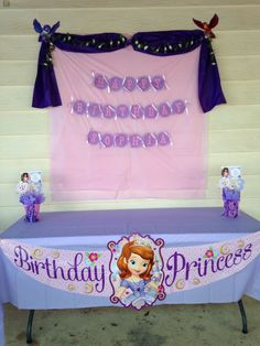 Princess Sofia the First birthday party @Holli Burkart what about something like this over that window opening