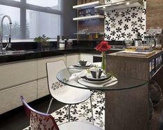 vidro na decoração de cozinha pequena