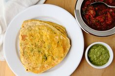 besan paratha with chutneys