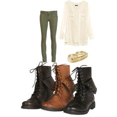 Love combat boots and army green pants for the fall