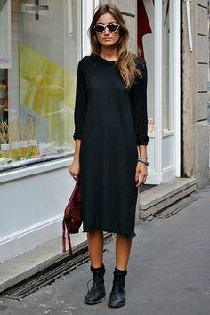 Over the knee black jumper dress