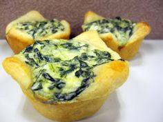 """Spinach quiches - GREAT for rehearsal nibbles, bridesmaid get-together, wedding party """"getting ready"""" bites, or reception buffet.  Made with canned crescent rolls -- EASY & TASTY!"""