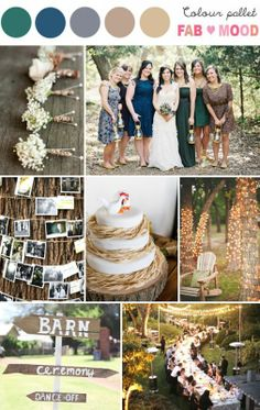 Rustic Wedding Board – Wedding Colours, Wedding Themes, Wedding colour palettes – Add to favorites 1. Boutonnieres -  sacramentogolfweddings 2. Mix matched bridesmaid electric blue , emerald, indigo  dark cocoa -  chicvintagebrides 3. Wrap photos of the bride and groom around a tree with twine and clothespins - dawnephoto 4. Rustic Wedding Cake , summer wedding ideas – itakeyou 5. If you wanted to make your guests feel at home for the day, have a place  where they ...