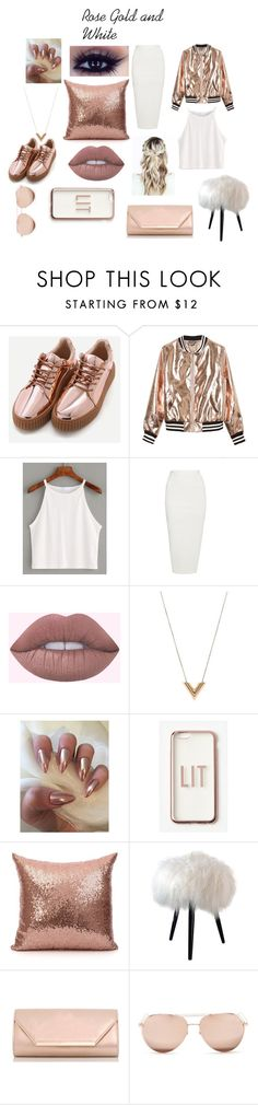 """""""Rose Gold and White"""" by curlydubby9 ❤ liked on Polyvore featuring Sans Souci, Rick Owens, Louis Vuitton, Missguided, Dorothy Perkins and Linda Farrow"""