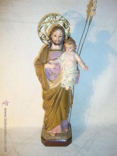 ANTIGUO SAN JOSE Y NIÑO JESUS SELLADO ARTE CRISTIANO OLOT. MED. 38X35X9X9 DE PEANA