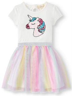 Btween Sequin Unicorn Rainbow Mesh Tutu Dress (Little Girls & Big Girls) Cute Little Girls Outfits, Kids Outfits, Walmart Outfits, Long Sleeve Outfits, Girls Fleece, Outfit Sets, Fashion Prints, Nice Dresses, 5th Birthday