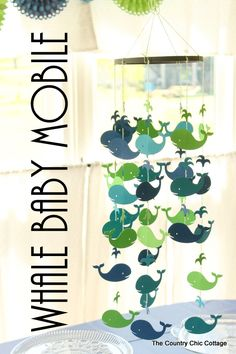 Make your own whale baby mobile with this craft tutorial!