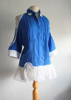 upcycled linen | Cobalt Blue Linen Shirt Women's Clothing Upcycled Tunic ... | upcycled
