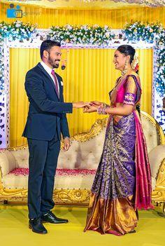 your description Engagement Couple Dress, Couple Wedding Dress, Wedding Party Dresses, Wedding Shoot, Indian Bridal Sarees, Wedding Silk Saree, Indian Beauty Saree, Saree Jacket Designs, Wedding Saree Blouse Designs