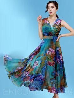 Ericdress Flower Print Expansion V-Neck Sleeveless Maxi Dress Maxi Dresses