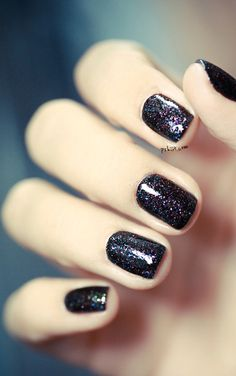 Gorgeous Glitter Nails. I just bought a nail polish just like this. Black w tiny glitter