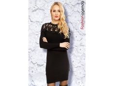 Rochie tricotata neagra cu dantela Ava Dresses For Work, Fashion, Tricot, Moda, Fashion Styles, Fashion Illustrations