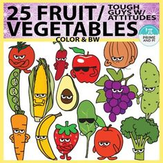 These tough looking (but super cute) fruits and vegetables are great for any food or nutrition lesson. They try to come across as tough guys with attitude (who can take on any junk food hoodlums) but they're really cuties inside. 50 total files. INCLUDED IN THIS SET-25 color fruits and vegetables a book-25 B&W fruits and vegetables a book1.