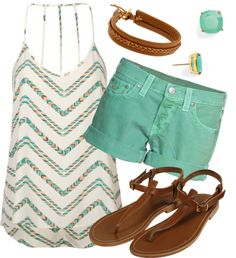 """Sea Green & Chevron"" by qtpiekelso on Polyvore"