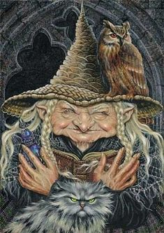 Wonderful portrait of Haegeth, the witch and cat by Maxine Gadd ~ Halloween