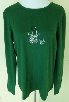 Christopher & Banks Women's Size XL Winter Snowman Green Long Sleeve Top New #ChristopherBanks #KnitTop